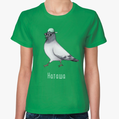 Женская футболка Наташа голубь