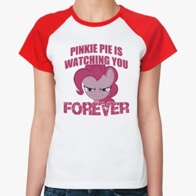 Женская футболка реглан Пинки Пай наблюдает за тобой
