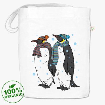 Сумка Новогодние пингвины в шапках