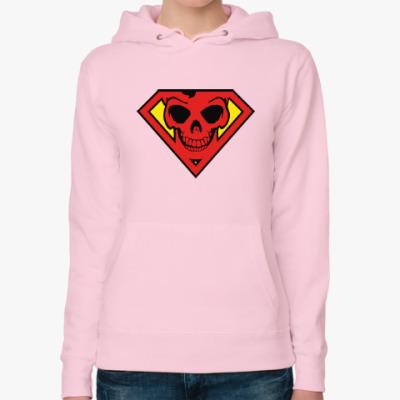 Женская толстовка худи Skull Superman