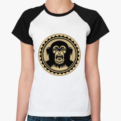 Женская футболка реглан Screaming monkey