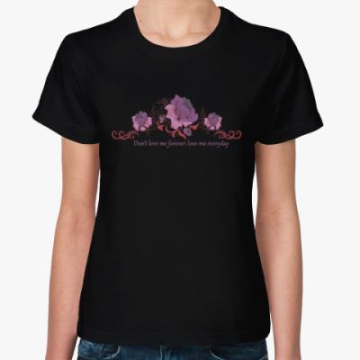 Женская футболка Цветы и надпись про любовь