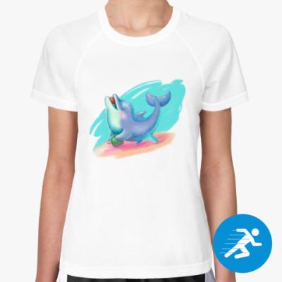 Женская спортивная футболка Дельфин - песик