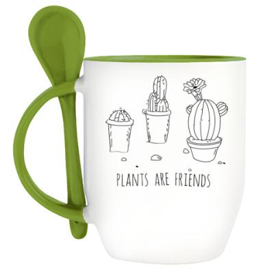 Кружка с ложкой Plants are friends