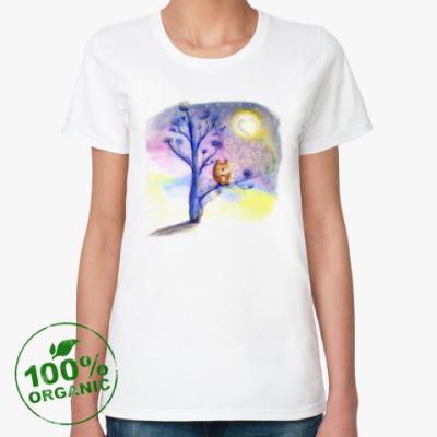 Женская футболка из органик-хлопка Сова пьет кофе