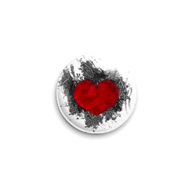 Значок 25мм Сердце в краске