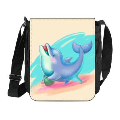 Сумка на плечо (мини-планшет) Дельфин - песик