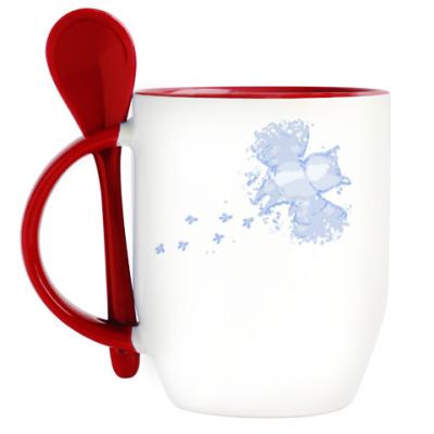 Кружка с ложкой Сова в снегу