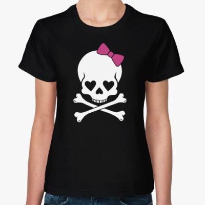 Женская футболка Череп с бантиком