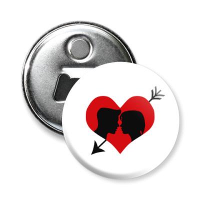 Магнит-открывашка Сердце хочет любви