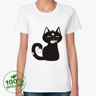 Женская футболка из органик-хлопка котик