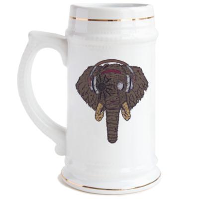 Пивная кружка Слон в наушниках