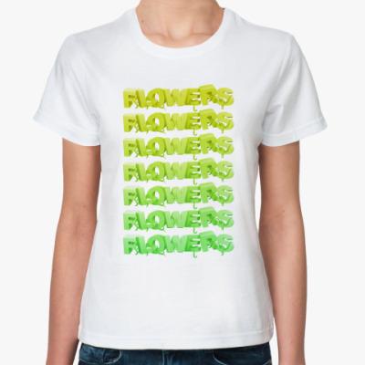 Классическая футболка  цветы