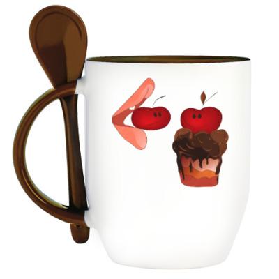 Кружка с ложкой Cherry&Cake