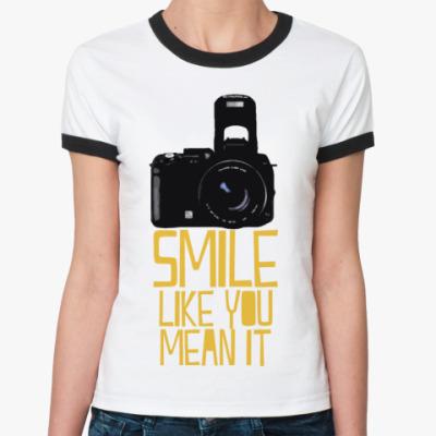 Женская футболка Ringer-T  smile like you mean