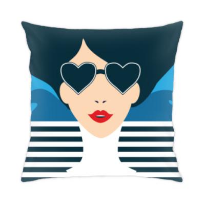 Подушка Француженка, фэшн иллюстрация, поп арт