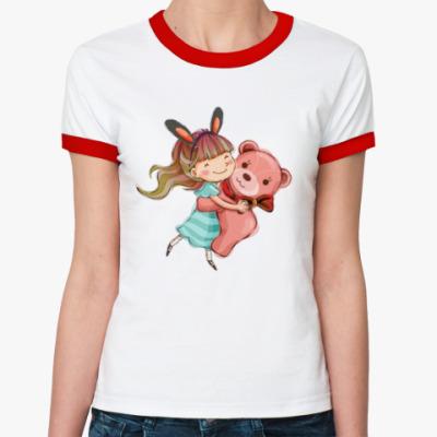 Женская футболка Ringer-T девочка и медвежонок