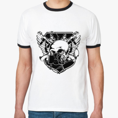 Футболка Ringer-T Skull Gun