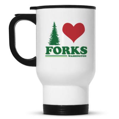 Кружка-термос I love Forks.WA