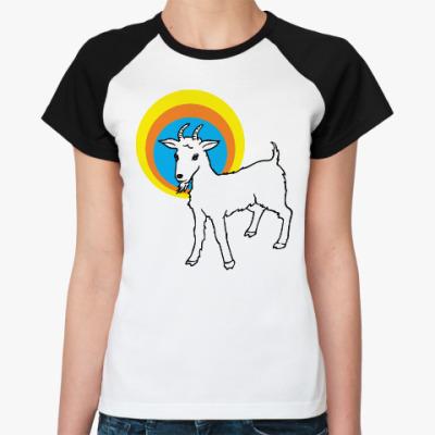Женская футболка реглан Год козы