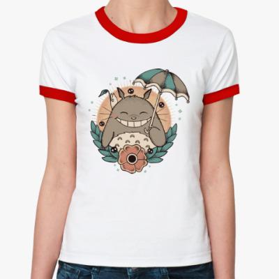 Женская футболка Ringer-T Smile Totoro