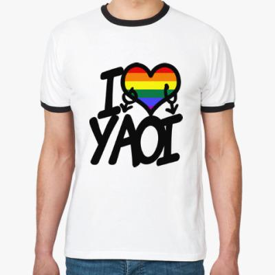 Футболка Ringer-T I love yaoi (Boys' Love)