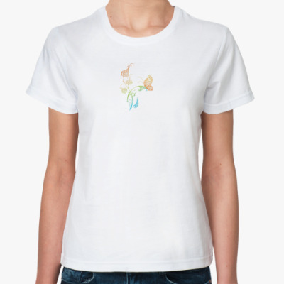 Классическая футболка  Бабочка на цветке