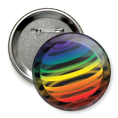 Значок 75мм   Разноцветный шар