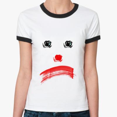 Женская футболка Ringer-T грустный клоун