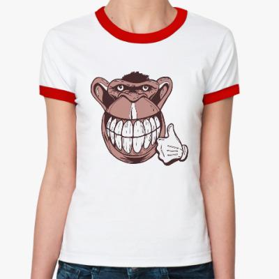 Женская футболка Ringer-T Веселая обезьяна