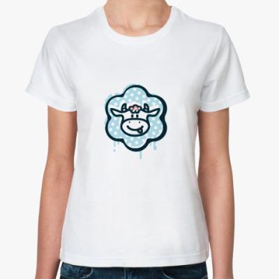 Классическая футболка Жен.футболка с гол. коровом