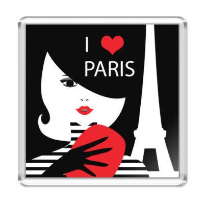 Магнит Француженка, фэшн иллюстрация. Я люблю Париж