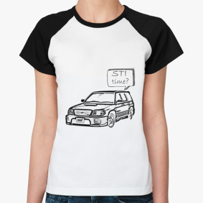Женская футболка реглан STI time?