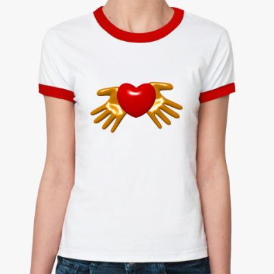 Женская футболка Ringer-T Сердце в руках