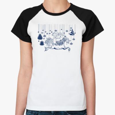Женская футболка реглан Лошадка