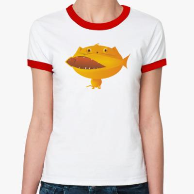 Женская футболка Ringer-T  кошка и рыба