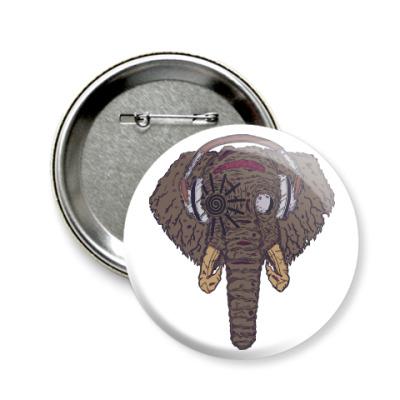 Значок 58мм Слон в наушниках