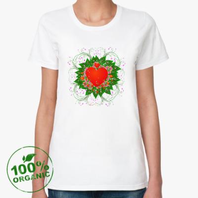 Женская футболка из органик-хлопка Heart Flower