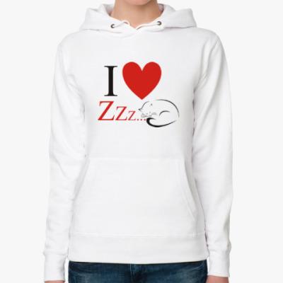 Женская толстовка худи I love Zzz...
