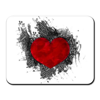 Коврик для мыши Сердце в краске