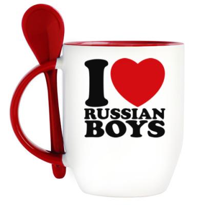 Кружка с ложкой Люблю русских парней