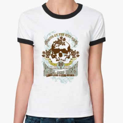 Женская футболка Ringer-T Skull and roses