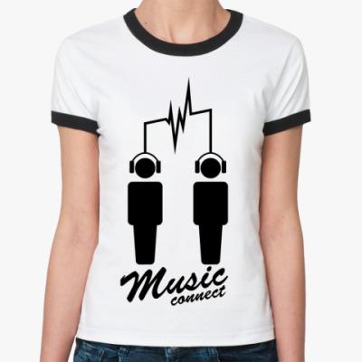 Женская футболка Ringer-T Music connect