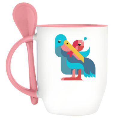 Кружка с ложкой Pelican