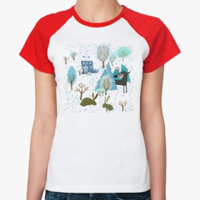 Женская футболка реглан 'Волк зимой...'