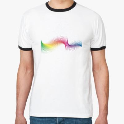 Футболка Ringer-T  'Pixel Rainbow'