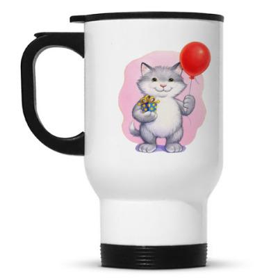 Кружка-термос Кот и воздушный шарик