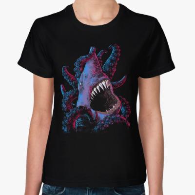 Женская футболка Акула VS Осьминог