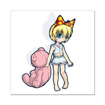 Наклейка (стикер) Чибик с  мишкой