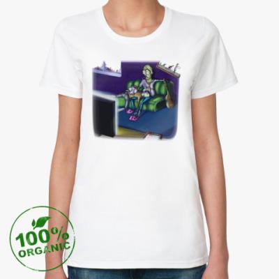 Женская футболка из органик-хлопка Life zombie!